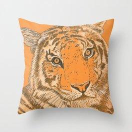 Tiger in Orange Throw Pillow