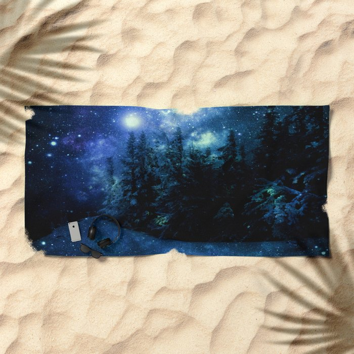 Galaxy Winter Forest Deep Blue Green Beach Towel