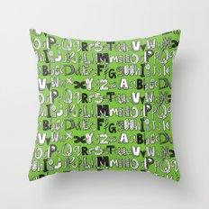 ABC green Throw Pillow