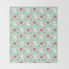 Baby Unicorn with Hearts Throw Blanket