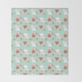 Baby Unicorn with Hearts Throw Blanket
