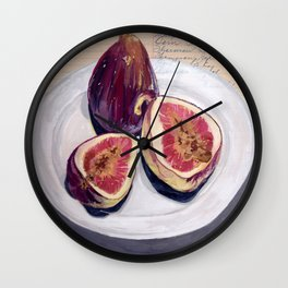 Figs on a Plate in Gouache Wall Clock