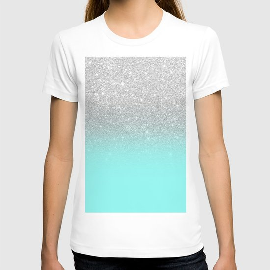 Modern girly faux silver glitter ombre teal ocean color bock by girlytrend