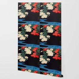 Ohara Koson Chrysanthemums and Running Water 1931 Japanese Woodblock Print Vintage Historical Wallpaper