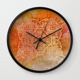 paisley star in hot hues Wall Clock
