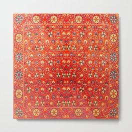 Boho Orange Oriental Traditional Moroccan Style Illustration  Metal Print