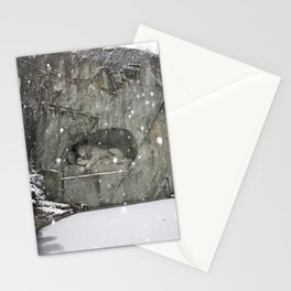 LION MONUMENT SNOWFALL Stationery Cards