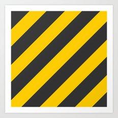 Stripes Diagonal Black & Yellow Art Print