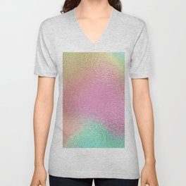 Simply Metallic in Iridescent Rainbow Unisex V-Neck