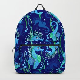 Seahorse cute blue sea animal Vector Seamless Pattern Textile Design Backpack