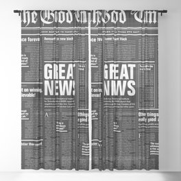 The Good Times Vol. 1, No. 1 REVERSED / Newspaper with only good news Sheer Curtain