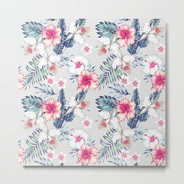 hibiscus, orchids and palm leaves seamless pattern Metal Print