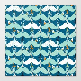 Mustache Waves Canvas Print