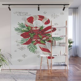 Vintage Merry Christmas Candy Cane Wall Mural