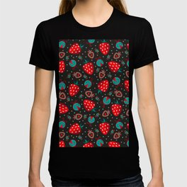 strawberry and beatle surface pattern black T-shirt