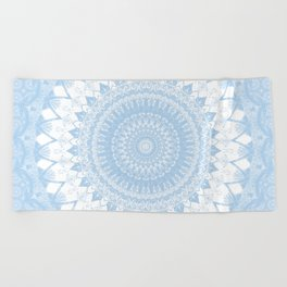 Baby Blue Boho Mandala Beach Towel