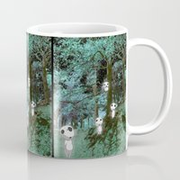 kodama Mugs featuring Kodama in the woods by pkarnold + The Cult Print Shop