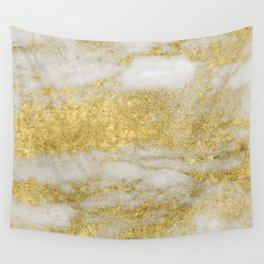 Marble - Glittery Gold Marble and White Pattern Wall Tapestry