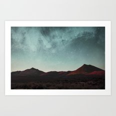 Universe above the mountain peaks Art Print