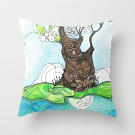Tree 2 with Water Throw Pillow