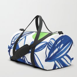 Navy blue and lime green abstract leaves Duffle Bag