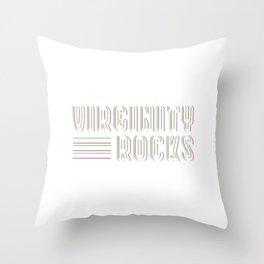 "Great Shirt For Every Female ""Virginity Rocks"" T-shirt Design Virgin Pure Purity Naughty Girls Girl Throw Pillow"