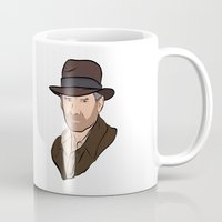 indiana jones Mugs featuring Indiana Jones by Rachel Barrett