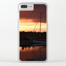 Boats On The River Blyth At Sunset Clear iPhone Case