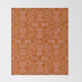 Thistle Outline on Orange Throw Blanket
