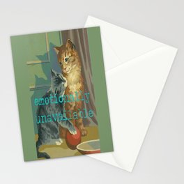 Vintage Paint By Number PBN Unavailable Cat Stationery Cards