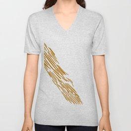 Gold tiger lines on white Unisex V-Neck