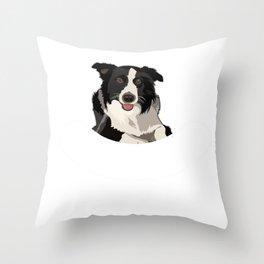 Border Collie Herding Dog  Design Throw Pillow