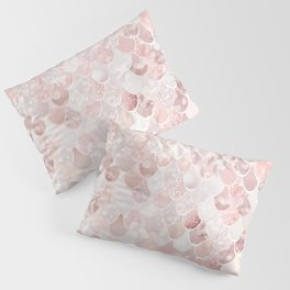 Mermaid Art, Blush Pink and Rose Gold Pillow Sham
