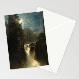 Waterfall in the Italian Countryside by Oswald Achenbach Stationery Cards