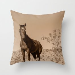 Wild_Horses Sepia 3501 - Nevada Throw Pillow
