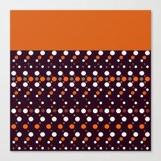Colorful polka dots on black and purple background .Black , orange . Canvas Print