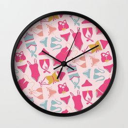 Yesteryear | Retro Vibe Bathing Suits | Blue, Pink, Yellow Swimsuits |Renee Davis Wall Clock