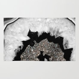 Gray Black White Agate with Silver Glitter #1 #gem #decor #art #society6 Rug