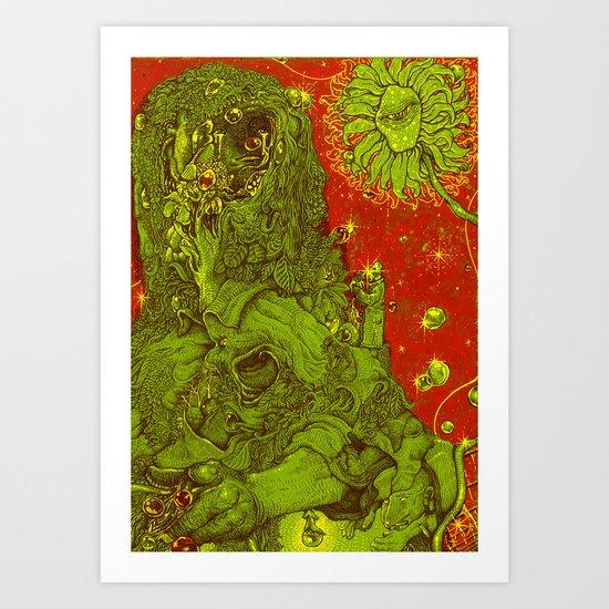 Sunflower green & Red Sky Art Print