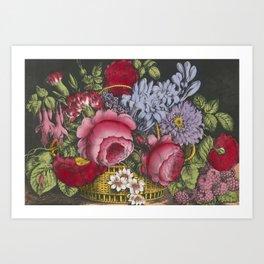 Vintage Floral Basket Illustration (1872) Art Print