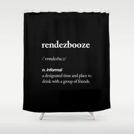 Rendezbooze black and white contemporary minimalism typography design home wall decor black-white Shower Curtain