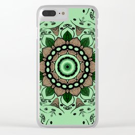 Mandala Green and Brown Clear iPhone Case