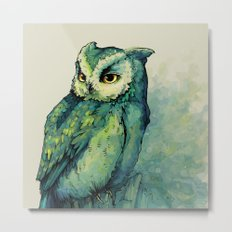 Green Owl Metal Print