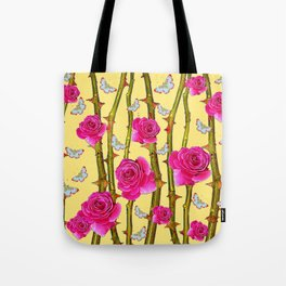 WHITE BUTTERFLIES & CERISE PINK ROSE THORN CANES YELLOW Tote Bag