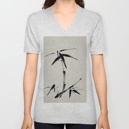 Bamboo Brush Ink Painting - Japanese Zen Art Unisex V-Neck