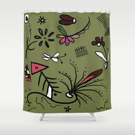 Green garden abstract drawing Shower Curtain