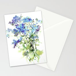 Forget-me-not watercolor aquarelle flowers Stationery Cards