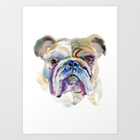 bulldog Art Prints featuring Bulldog by coconuttowers