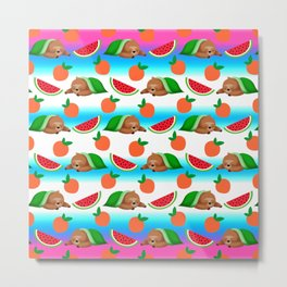 Cute funny sweet adorable sleeping dreaming baby sloths under a blanket, little peaches and red ripe summer tropical watermelons cartoon fantasy white blue pattern design Metal Print