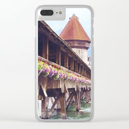 Swiss Wooden Bridge Clear iPhone Case